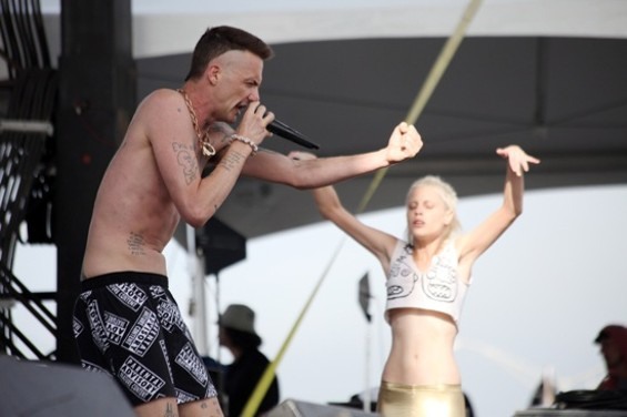 Die Antwoord fired up the crowd with machine-gun rhymes and swinging genitalia. - JOSEPH SCHELL