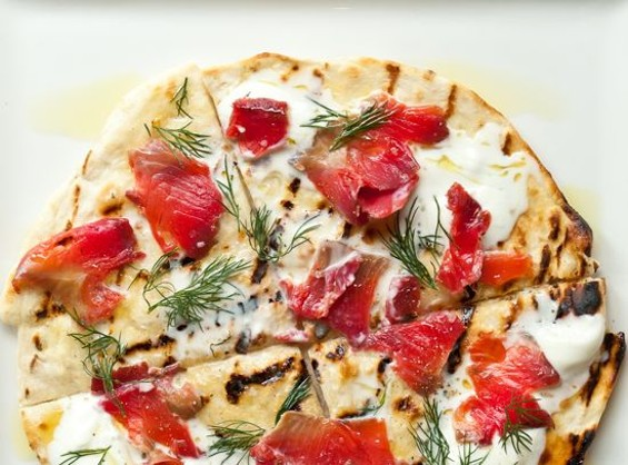 Dill, beet and vodka-cured salmon on grilled flatbread