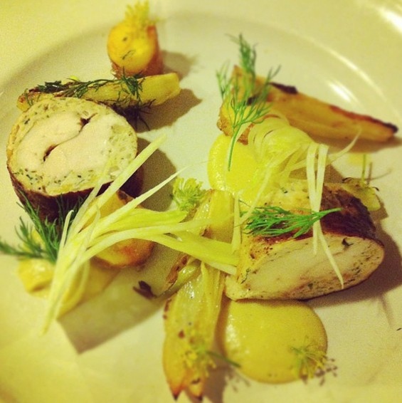 """Dinner bell chicken, fennel, dill and gravenstein apple sauerkraut."" - HTTP://INSTAGRAM.COM/BRANDOJ"