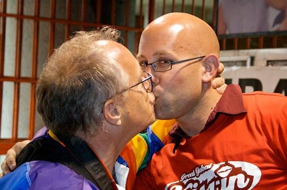 District 8 supervisorial candidate Rafael Mandelman, right, shares a kiss - ALL PHOTOS       MATT BAUME