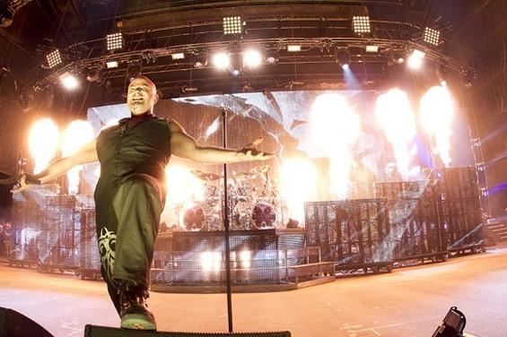 Disturbed at the Rockstar Mayhem Festival Sunday at Shoreline Amphitheatre - CHRISTOPHER VICTORIO
