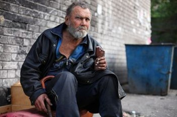 Dniprodzerzhynsk, Ukraine. The government estimates there are 15,000 people living on the streets, but charities think the total is closer to 600,000. Winters are severe. 130 people froze to death in 10 days.