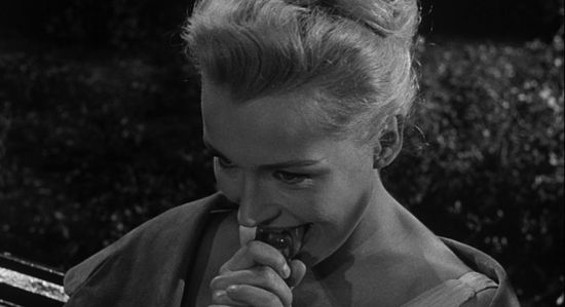 Dolores Dorn, licking (cough, cough!) ice (ahem!) in Underworld U.S.A.
