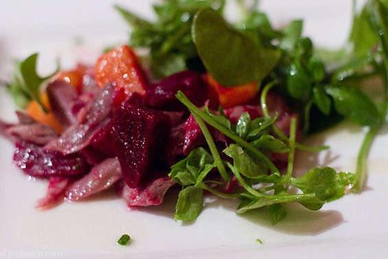 Duck adobo confit salad with beets, one of several mod Filipino dishes at Hapa SF's Saturday pop-up. - JUN BELEN