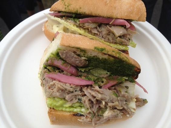 Duck larb sandwich by Side Pony. - TAMARA PALMER