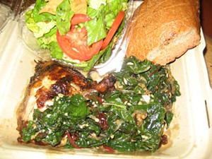Due Drop In's chicken with chard.