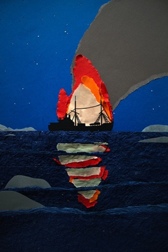 During one expedition, a fire erupted on one of her ships, the Veslekari. The captain had stored dynamite to break ice underneath Boyd's cabin. She was unharmed. - ARTIST MAËLLE DOLIVEUX
