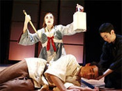 JESSICA  PALOPOLI - East Meets West: Caroline Hewitt, Ryan Tasker, and Erin Stuart in an amalgam of kabuki and Shakespeare.