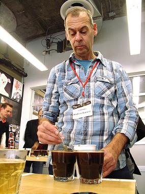 Ecco Caffe's Andrew Barnett, judging coffee entries last October. - TONX/FLICKR