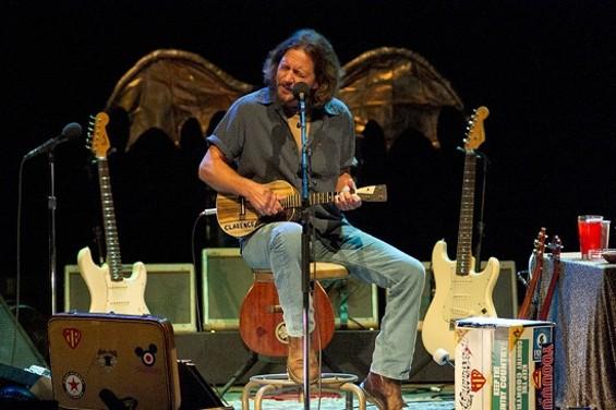 Eddie Vedder at the Paramount Theatre last night. - CHRISTOPHER VICTORIO