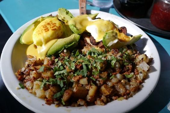 Eggs Barrio with chorizo hash