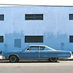 COURTESY OF RENA BRANSTEN GALLERY - Eirik Johnson's Blue Car, Blue Building.