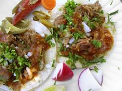 JOHN BIRDSALL - El Gallo Giro's carnitas tacos.
