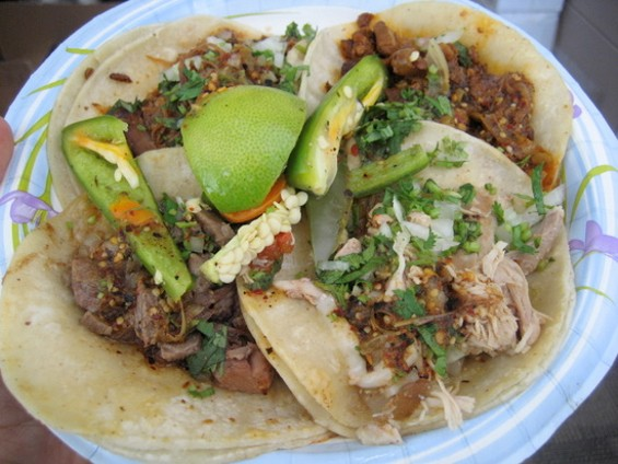 El Norteno tacos, clockwise from top left: goat, al pastor, chicken, tongue. - JONATHAN KAUFFMAN