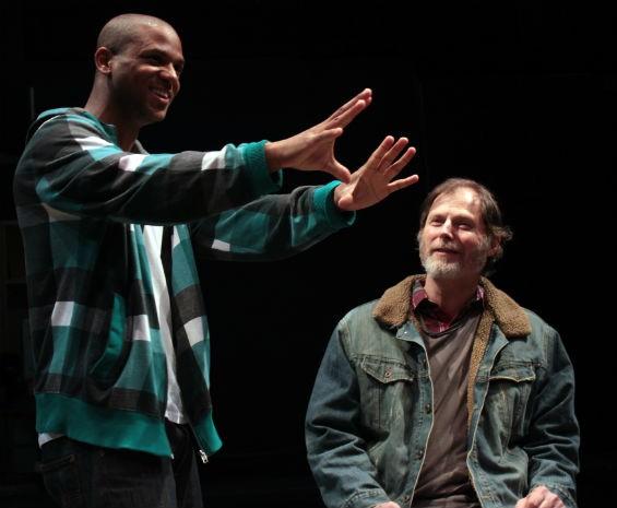 Entrepreneur Franco (Chris Marsol) tries to inspire disillusioned Baby Boomer Arthur (Don Wood). - MAXX KURZUNSKI