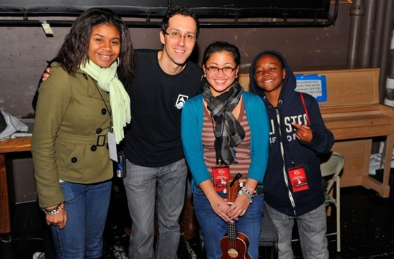 Executive Director of The Recording Academy San Francisco Chapter, Chris Wiltsee, and student artists backstage.