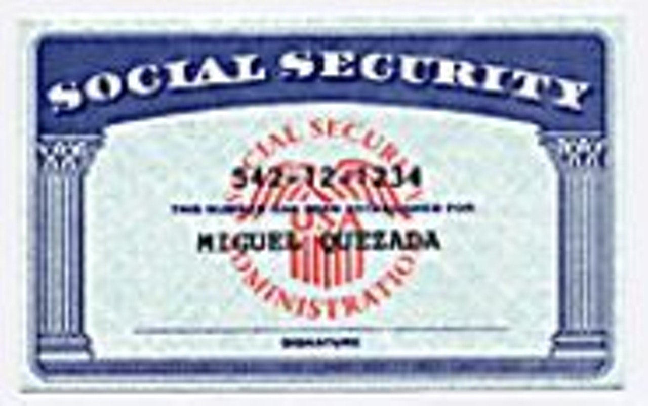 Fake Social Security cards, like this one, cost $40 to - $50 in the ...