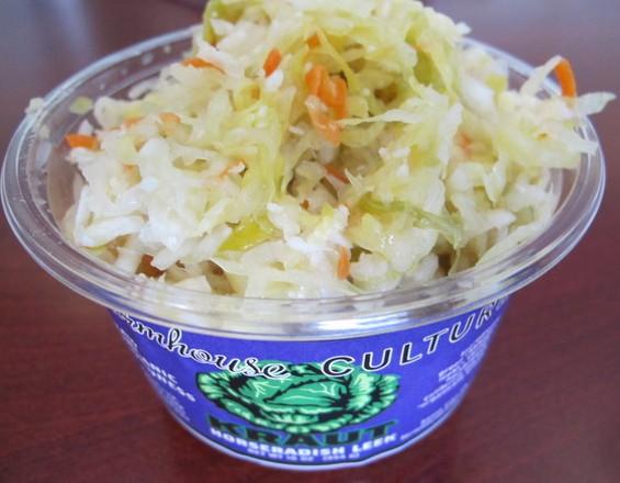 Farmhouse Culture's horseradish-leek kraut, $7. Includes one juice shot. - JONATHAN KAUFFMAN