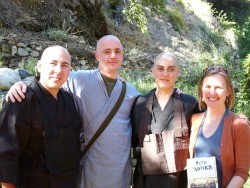 """""""Fire monks"""" David Zimmerman, Graham Ross, and Mako Voelkel with author Colleen Busch"""