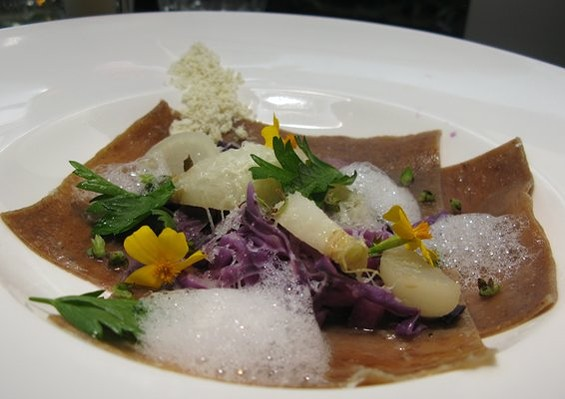 Foam party: Sons and Daughters' porcini noodles with teensy turnips. - AL Z./YELP