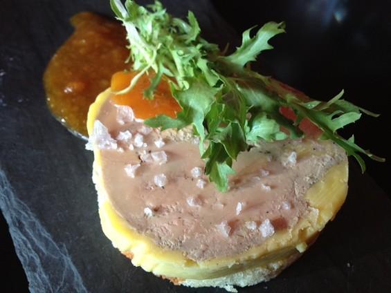 Foie de Vivre's foie gras torchon, served on asphault. - TAMARA PALMER