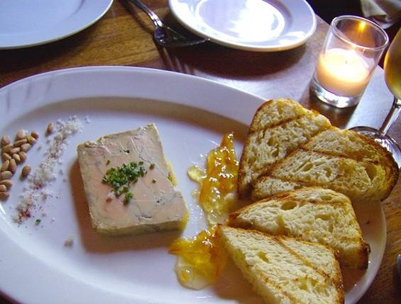 Foie gras terrine with brioche toasts. - TREVOR ADAMS