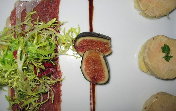 Foie gras torchon with duck prosciutto and Black Mission figs at Gary Danko. - DDANZIG