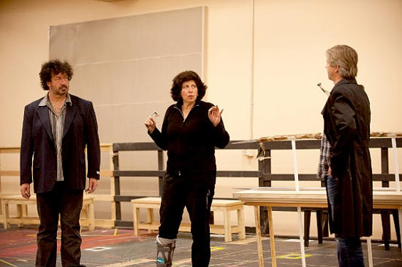 Francesca Zambello rehearses with Andrea Silvestrelli (Hagen, left) and Gerd Grochowski (Gunther) from the Ring Cycle. - KRISTEN LOKEN