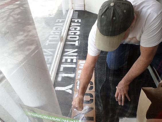 Frank Pietronigro at work in the Johnston Gallery window. - DAVID-ELIJAH NAHMOD