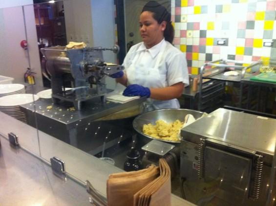 Fresh-made tortillas -- a rare sight even in The Mission's Taquerias.