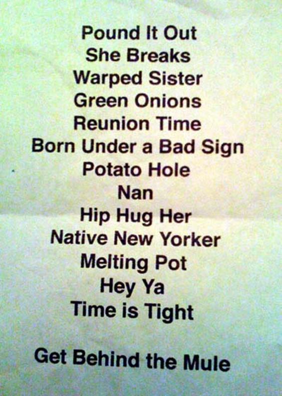 Friday's set list.