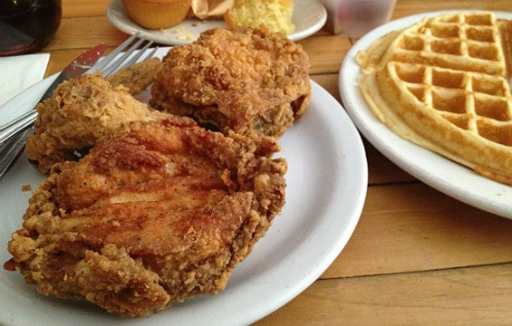 Fried chicken and waffles at Hard Knox Cafe. - CHRISTINA SPITTLER
