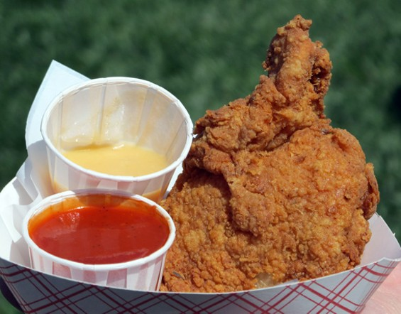 Fried chicken from Wing Wings part of a complete picnic. - LOU BUSTAMANTE