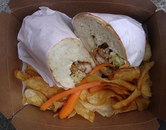 Fried chicken po'boy ($9). - JOHN BIRDSALL