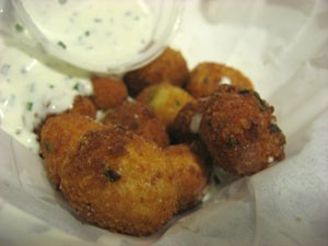 "Fried gnocchi with ""dirty ranch"" sauce. - JONATHAN KAUFFMAN"