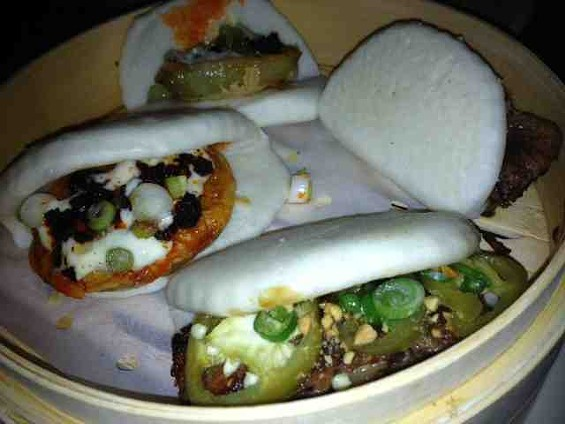 Fried green tomato and five spice pork buns by American Bao Bar. - TAMARA PALMER