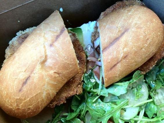 Fried green tomato sandwich with burrata at the Corner Store. - TAMARA PALMER