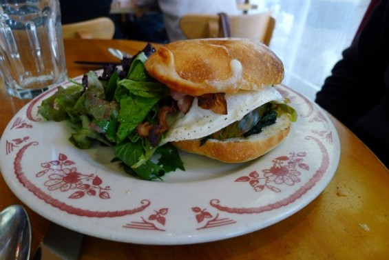 Fried Organic Egg, Heirloom Tomatoes, Spinach & Asiago Cheese on Ciabatta