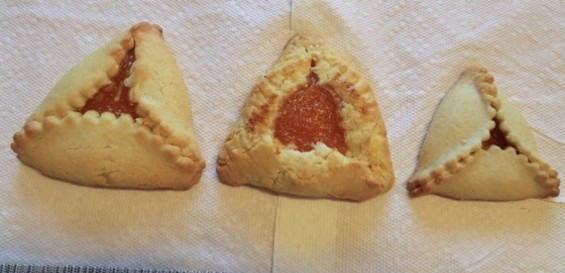 From left: Hamantaschen from House of Bagels, Cinderella Bakery, and Noe Valley Bakery, traditionally eaten at Purim, which starts Saturday at sundown. - ALEX HOCHMAN