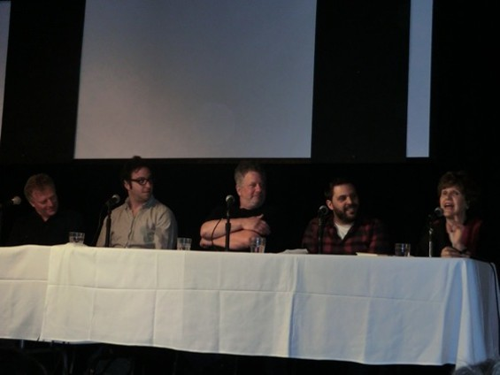 From left, Peter Levitt, Noah Bernamoff, Ken Gordon, Evan Bloom, and Joan Nathan. - ALEX HOCHMAN