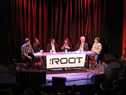 From left to right: Ian S. Port, Adam Theis, Jeremy Pollock, Jocelyn Kane, Guy Carson, and John Vanderslice at a panel last week on the S.F. music scene presented by the Root, the Chapel, and SF Weekly.