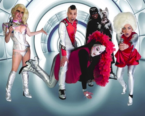 From left to right: Klingon Vanna White, Fudgie Frottage, Sister Roma, Alex U. Inn with Malcolm, and Jane Wiedlin - DAVID SWEET