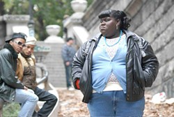 Gabourey Sidibe, as Precious, carries the exhausting and exhilarating narrative on her formidable shoulders.