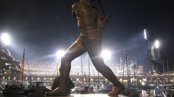 Game 1 viewed from the Willie McCovey statue on the far side of McCovey Cove - ERIC GOLUB