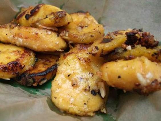 Garlic fried plantains from vegan truck Sunny Vibrations. - TAMARA PALMER