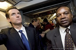 Gavin Newsom and Nat Ford 'are not buds,' SF Weekly is told. This photo could be Exhibit A. - JIM HERD