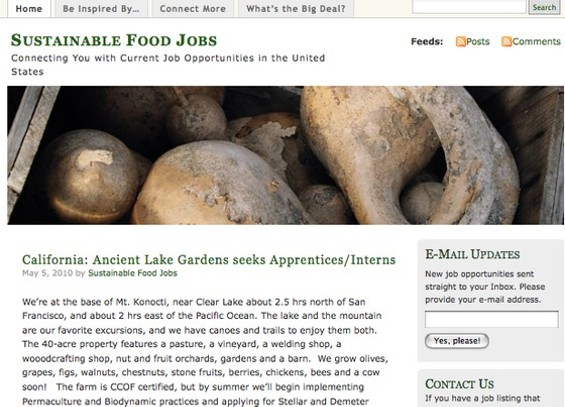 Get paid, eco-foodies! - SUSTAINABLEFOODJOBS.WORDPRESS.COM