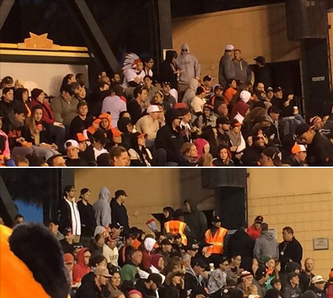 Giants fans sport fake headdresses on Native American Heritage Night. - APRIL NEGRETTE