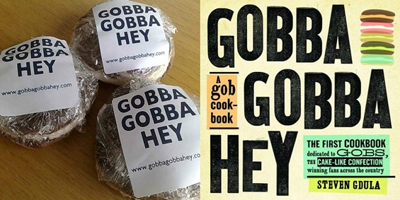 Gobs in their first incarnation (left) and the Gobba Gobba Hey cookbook. - STEVEN GDULA/BLOOMSBURY