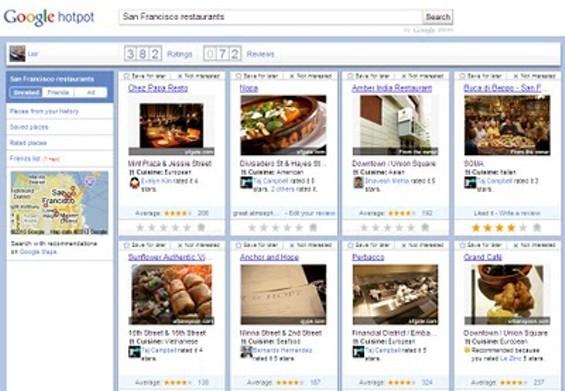 Google Hotpot ratings. - GOOGLE